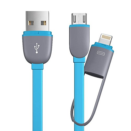 Lightning Cable with Micro USB Charging Cable - Mayshion 3.3ft Lightning 2-in-1 Charge Cable & Microusb Connectors for Iphone 6s plus, 6s,6plus, 6, 5s, 5c, 5, Ipad, Ipod and Android (Blue)