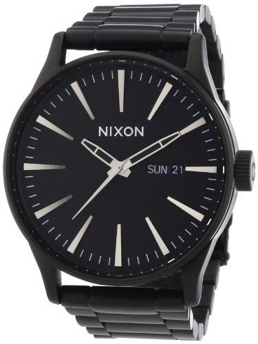 Nixon A356001-00 - Reloj analógico de cuarzo para hombre con correa de acero inoxidable, color negro