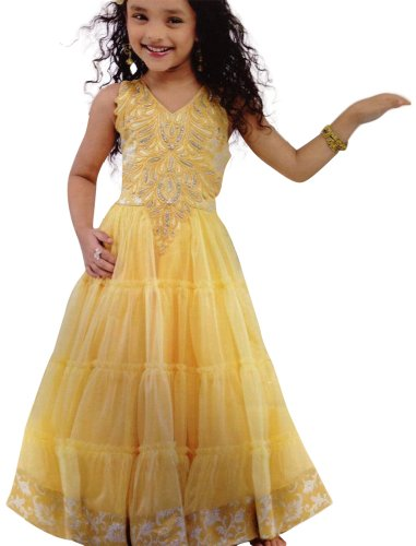 Girl's Partywear Yellow Long Gown/Frock for Girl's, Indian Clothing