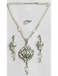 White Bead Necklace With White Stone Studded Pendant, Earrings And Ring - Synthetic Pearl