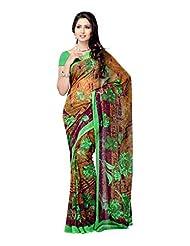Fabdeal Brown Chiffon Printed Saree Sari Sarees