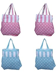 Home Pluss 4 Piece Women's Casual Fancy Bag( Pink & Blue, Polka Dot)