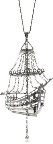 "HAN CHOLO ""Shadow Series"" Gun Metal Plated Brass 3D Ghost Ship Necklace"