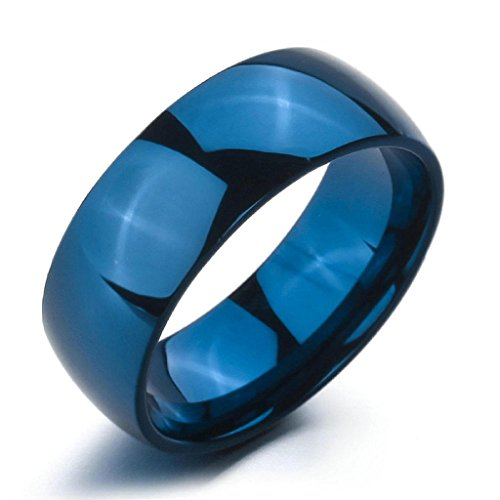Epinki,Fashion Jewelry Men Women's Wide 8mm Stainless Steel Ringss Band Blue Wedding Polished Size 9