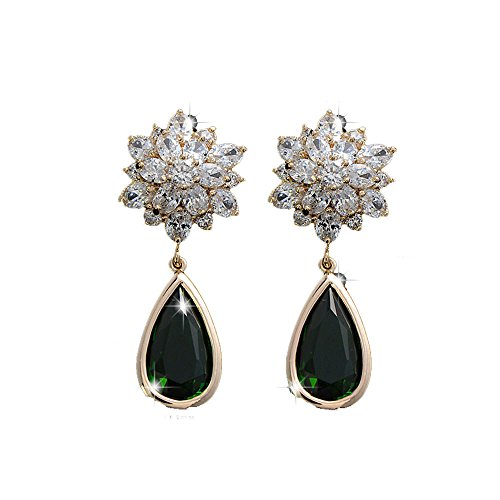 Mr Ribbt Noble Womens Flower Shapped Green Zircon Dangle Earrings
