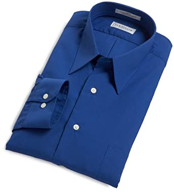 Van Heusen Men's Poplin Solid Long Sleeve Point Collar Shirt,Pacific Blue,14.5 32/33