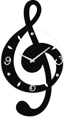 Ashton Sutton Musical Clef Wall Clock, Wooden and Glass