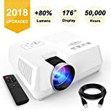 Visoud Mini Portable Projector, 2200 Lumen Full HD LED Video Projector Compatible with Fire TV Stick, HDMI, VGA, USB, AV, SD for Home Theater Entertainment (Color: White, Tamaño: 4 centimeters)