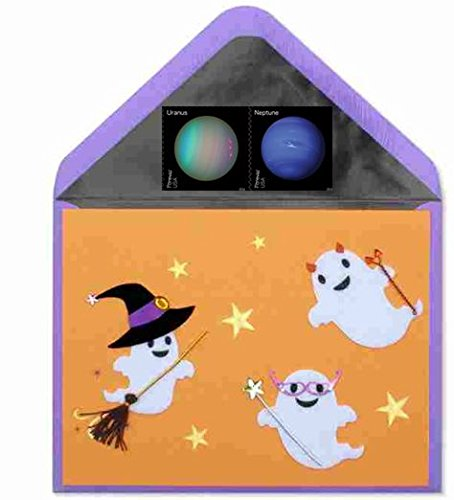 [Papyrus Cute Handmade Ghosts in Costumes Halloween Card with Forever Planets Stamp Bundle - Wishing you a spooktacular] (Postage Stamp Costume)