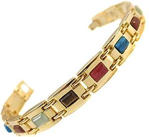 Bracelet femme acier plaque or 6 aimant magnetique 3000g pierre