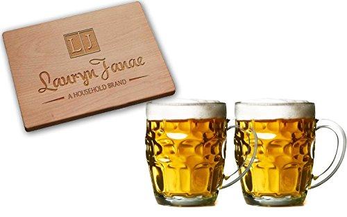 Lauryn Janae Premium 19.5oz Jumbo Size Dimple Brewmasters, Homebrewers, Beer Lovers Glass Beer Stein tankard Drink Mugs or Tea/Coffee Cups (Set of 2) (Valentine Beer Mug compare prices)