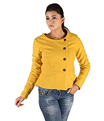 Owncraft Women's Woolen Jacket (Own_554_Yellow_Small)