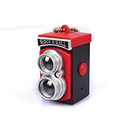 Longrich Adorable Classic Retro Camera Led Flash Sound Keychain (Red)