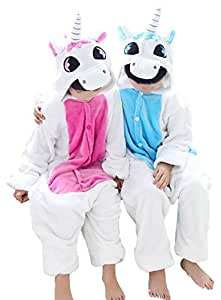 Us Top Winter Kid Cosplay Unicorn Flannel Animal Pajamas