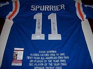 Steve Spurrier Signed Jersey - heisman 66 Jsa coa Stat - Autographed College Jerseys
