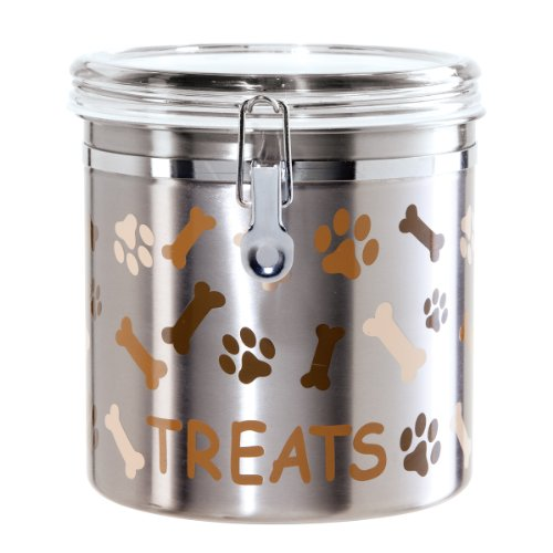 Oggi Airtight Stainless Steel 130-Ounce Pet Treat Canister with Treats, Paws and Bones Motif-Clear Acrylic Flip-Top Lid with Locking Clamp Closure (Dog Food Storage Stainless Steel compare prices)