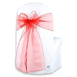 Sparkles Make It Special 100-pcs 108 x 8 Inch Organza Chair Cover Bow Wedding Sashes Red