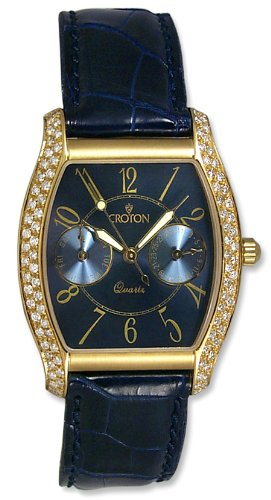 Croton 18K Solid Gold Diamonds Mens Strap Watch CR2480