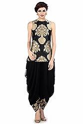 Navratri & Festival Special Offer: Ladies4Zone Designer Womens new letest partywear Patiyala Cotton Salwar Suit Dress Material ( KK1069_Free Size_Black)