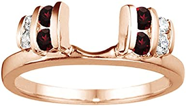 14k Gold Large Anniversary Style Ring Enhancer with Diamonds and Ruby 036 ct twt