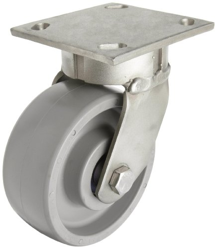 "RWM Casters 45 8"" Diameter Solid Elastomer Wheel Kingpin Medium Duty Swivel Plate Caster with Ball Bearing, 4-1/2"" Length X 4"" Width Plate, 1200 lbs Capacity Range"