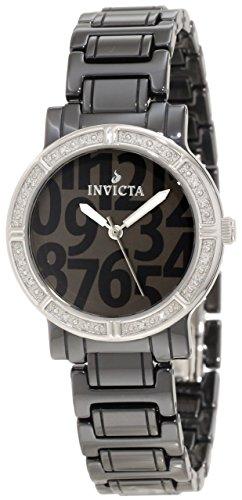 Invicta Women's 10277 Ceramic Diamond Accented Dark Grey Dial Black Ceramic Watch