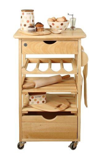 T & G Kitchen Compact Kitchen Trolley, Natural Hevea, Flat-Packed