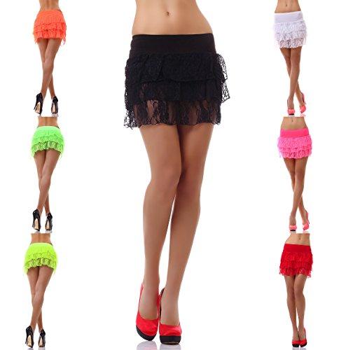 Damen Minirock Rock Skirt Stiefelrock GoGo Disko Party kurz Stufenrock Spitze in 7 Farben