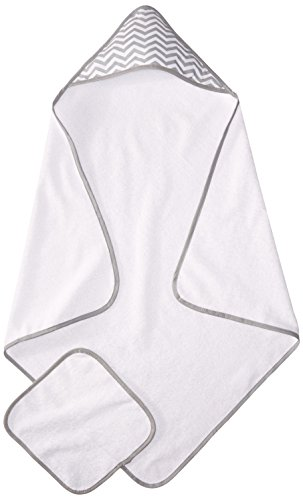 American Baby Company Terry Hooded Towel Set made with Organic Cotton, White with Gray ZigZag