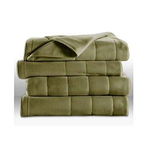 Sunbeam Premium Heated Mattress Pad Sunbeam Royal Dreams Twin Quilted Fleece Electric Blanket Ivy Green ...