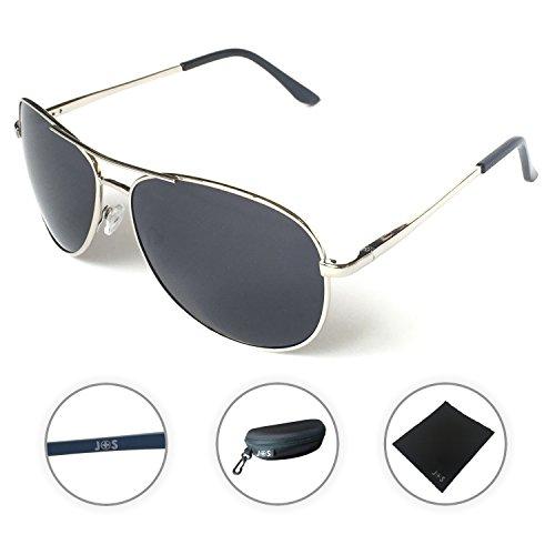 J+S Premium Military Style Classic Aviator Sunglasses, Polarized, 100% UV protection (Silver Frame/Black Lens)