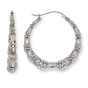 Kreolen Ohrringe Sterling Silber Bambus - 3.2cm - JewelryWeb