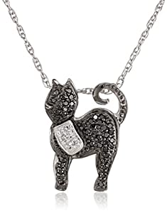 Sterling Silver Black and White Diamond Cat Pendant Necklace (1/4 cttw)
