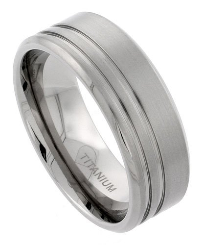 Titanium 9mm Flat Wedding Band Ring 2 Stripes Beveled Edges Matte Finish Comfort-fit, size 11