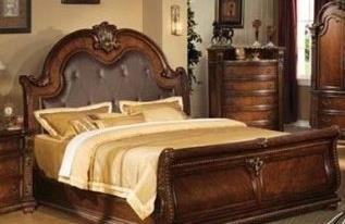 Queen Size Sleigh Bed In Brown Cherry Finish front-1065027