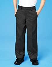 Boys Flat Front Wool Blend Trousers with Stormwear™