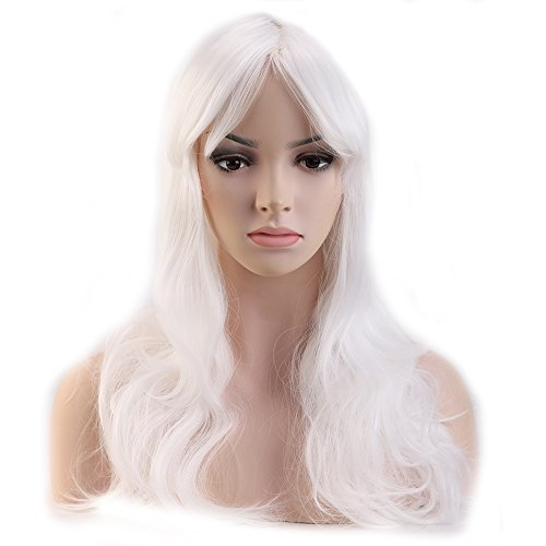 [Heat Resistant Synthetic Wig Japanese Kanekalon Fiber 9 Colors Full Wig with Bangs Long Curly Wavy 23'' / 58cm + Stretchable Elastic Wig Net for Women Girls Lady Fashion and] (Invisible Man Costume Diy)