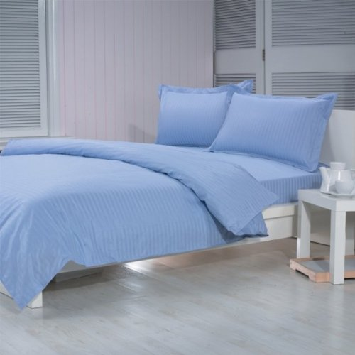 Trance Single Satin Fitted Bedsheet Satin 200 TC - Sky Blue