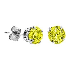 58841867bce97 Bestseller! 1 CT Yellow Diamond Stud Earrings 14k White Gold (I1 I2 ...