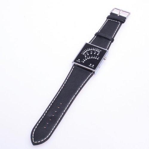 Bestdealusa Stylish Unisex Black Faux Leather Band Blue 29 Led Digital Sports Style Wristwatch
