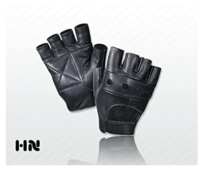 Fingerless Leather Cycle Biker Gym Gloves Cycling Body building weight lifting Black by Kango Fitness