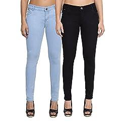 Cladien (Since 1958), Cotton Lycra, Women Jeans Combo, Pack of 2