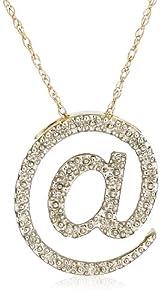 "10k Yellow Gold Diamond ""@"" Pendant (1/10 cttw, I-J Color, I2-I3 Clarity), 18"""