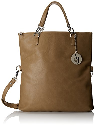 Armani Jeans Matte Leather 3 In 1 Convertible Hobo, Camel, One Size