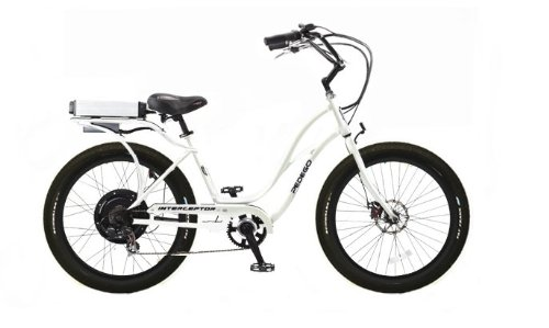 Pedego White Interceptor Step Thru Electric Bike with Black Rims and Black Balloon Tires