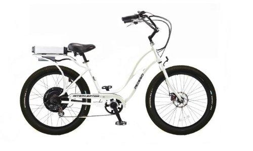 Pedego White Interceptor Step Thru Electric Bike with Black Rims and Black Balloon Tires