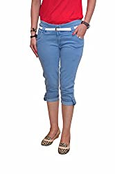 Ellis Light Blue Stretchable Poly Cotton Capri with White Belt