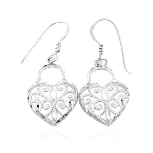 Sterling Silver Diamond Cut Heart Lock Earrings $19.95
