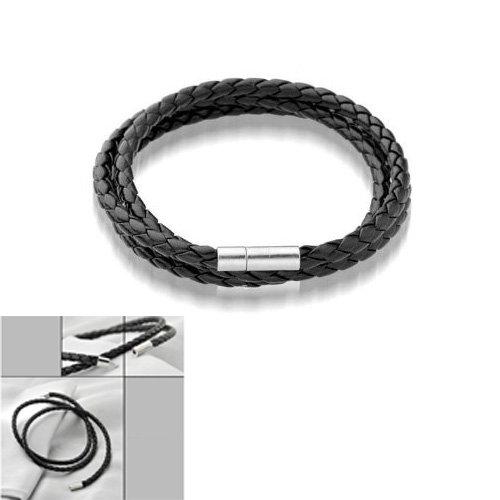 Sodial® - Braccialetto di cuoio intrecciato con chiusura in acciaio al titanio
