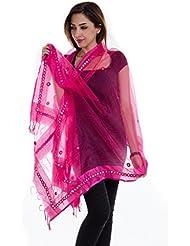 Ooltah Chashma Tissue Mirror Work Party Wear Dupatta Stole